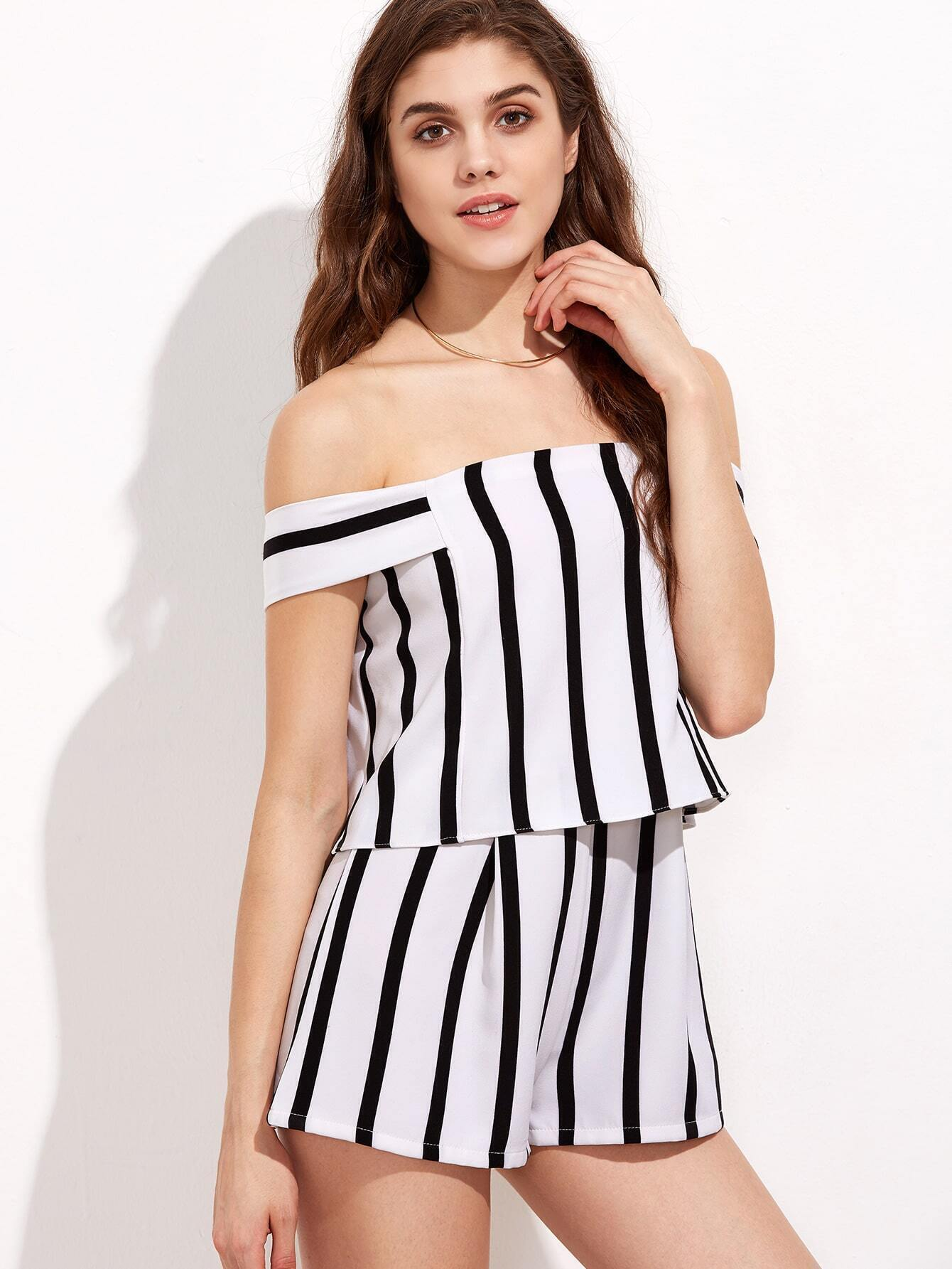 f6413db10a30 Black and White Stripe Off The Shoulder Short Jumpsuit EmmaCloth ...