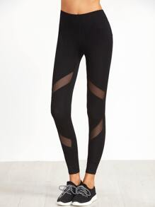 Black Mesh Insert Skinny Leggings