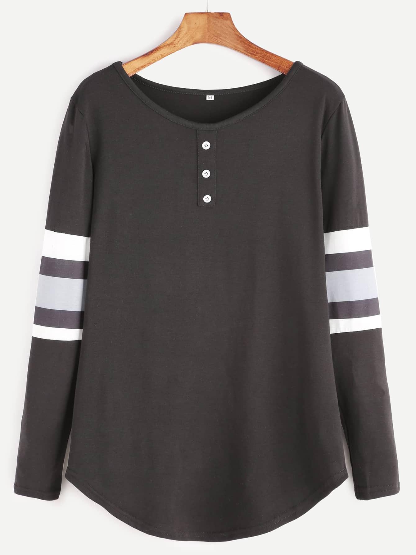 a22c1c0f776 Black Varsity Striped Curved Hem T-shirt EmmaCloth-Women Fast ...