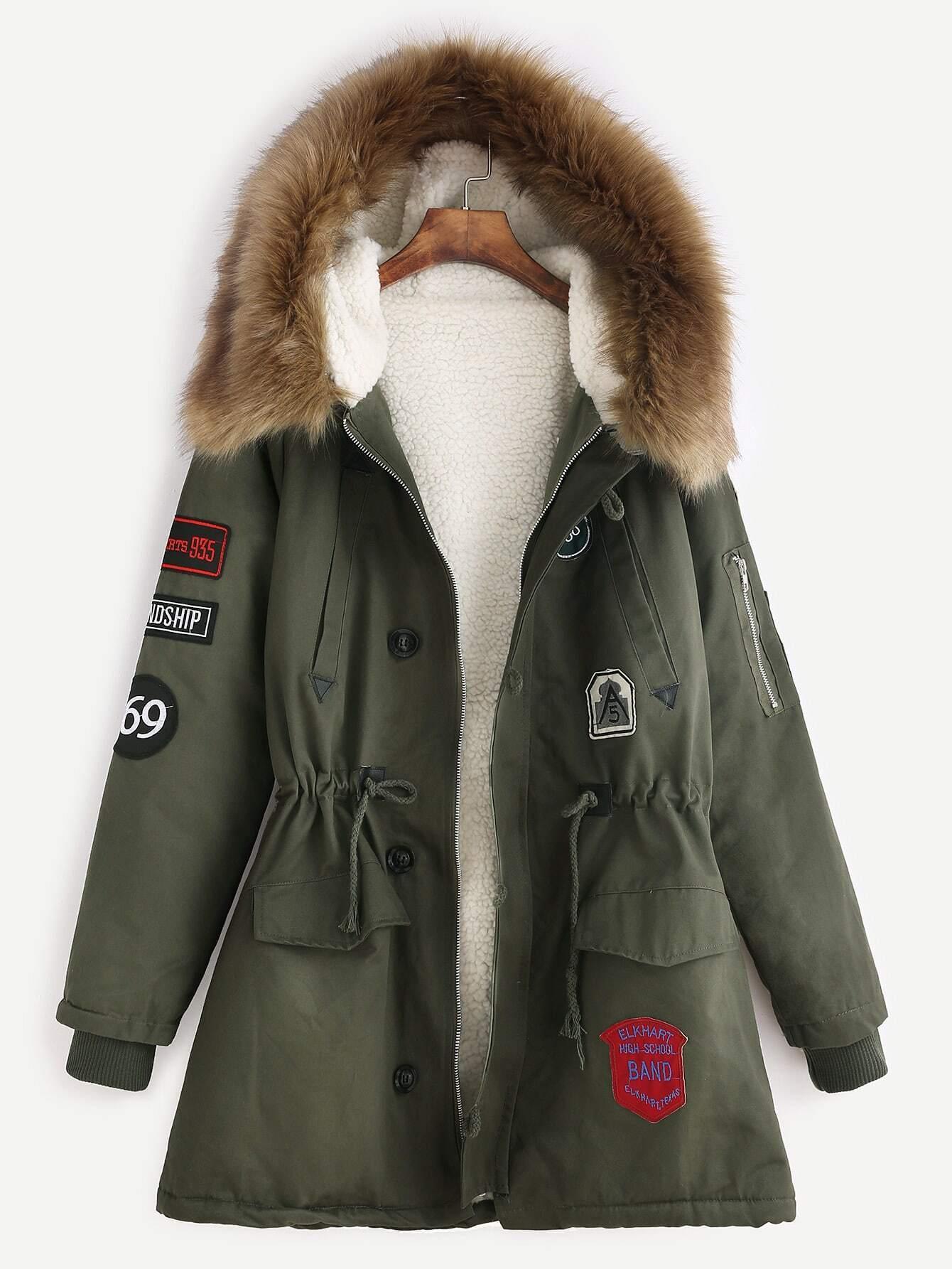 6ef014520dbf1 Army Green Patches Drawstring Hooded Faux Fur Trim Parka EmmaCloth ...