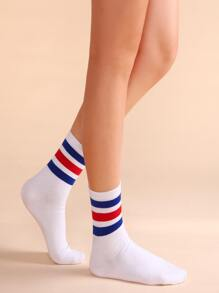 White Colored Stripe Trim Casual Crew Socks
