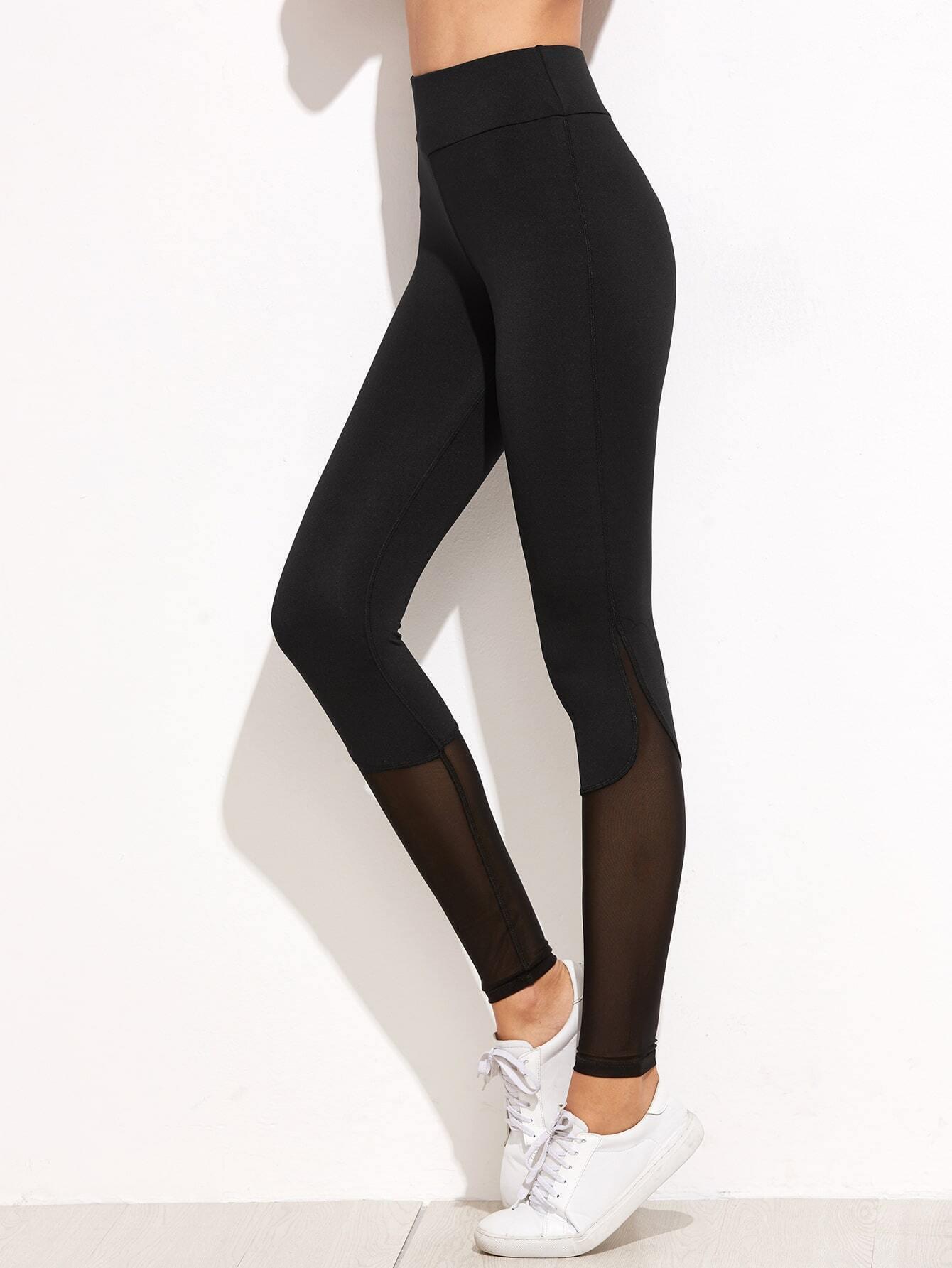 033ff0e74985e5 Black Contrast Mesh Leggings EmmaCloth-Women Fast Fashion Online