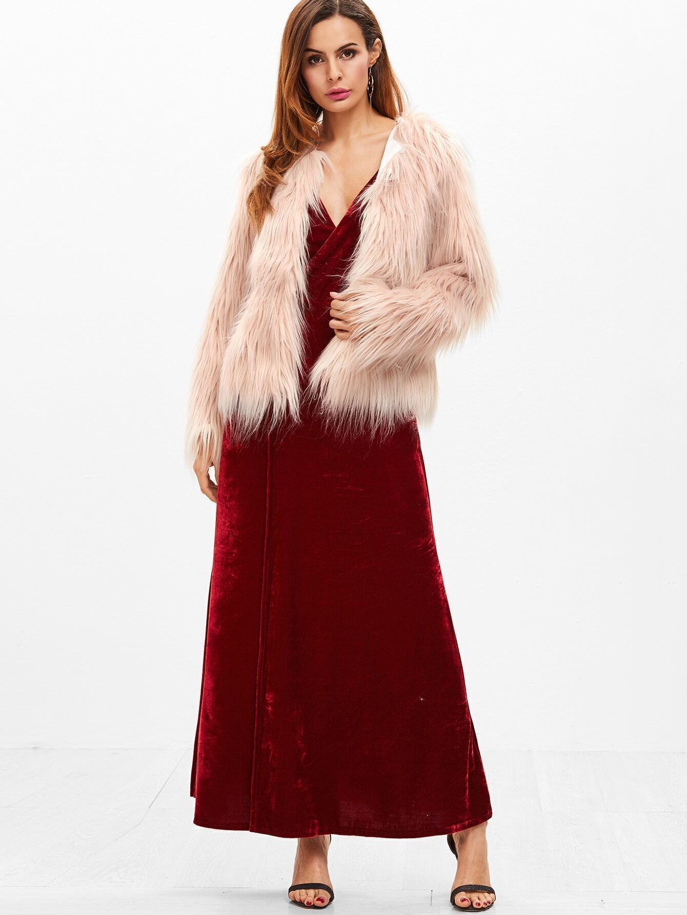 Burgundy Velvet Deep V Neck Backless Wrap Slip Dress EmmaCloth-Women Fast  Fashion Online 6ce9810eb