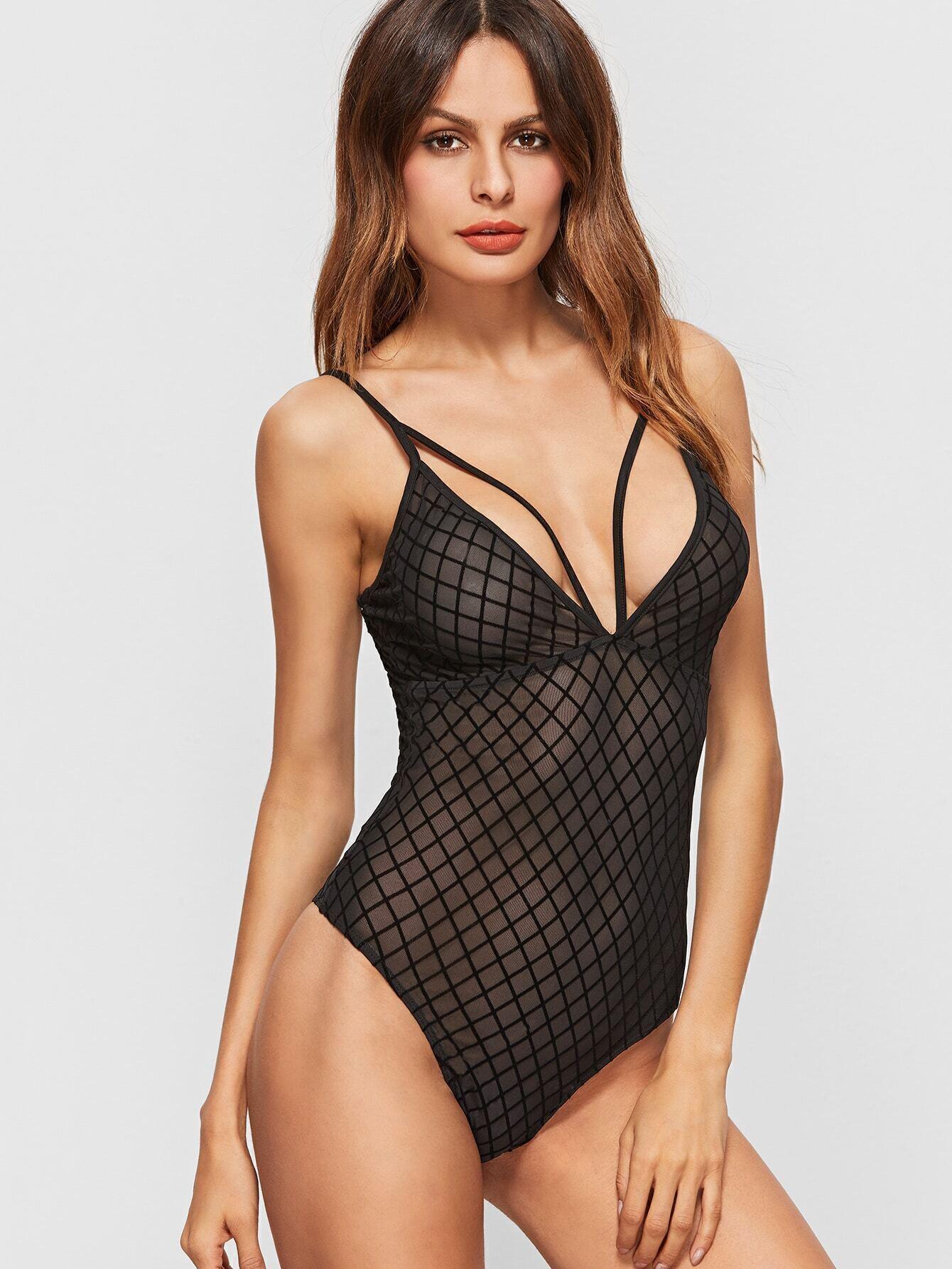 9bd6ffbd02 Black Strappy Deep V Neck Diamond Grid Mesh Cami Bodysuit EmmaCloth-Women  Fast Fashion Online