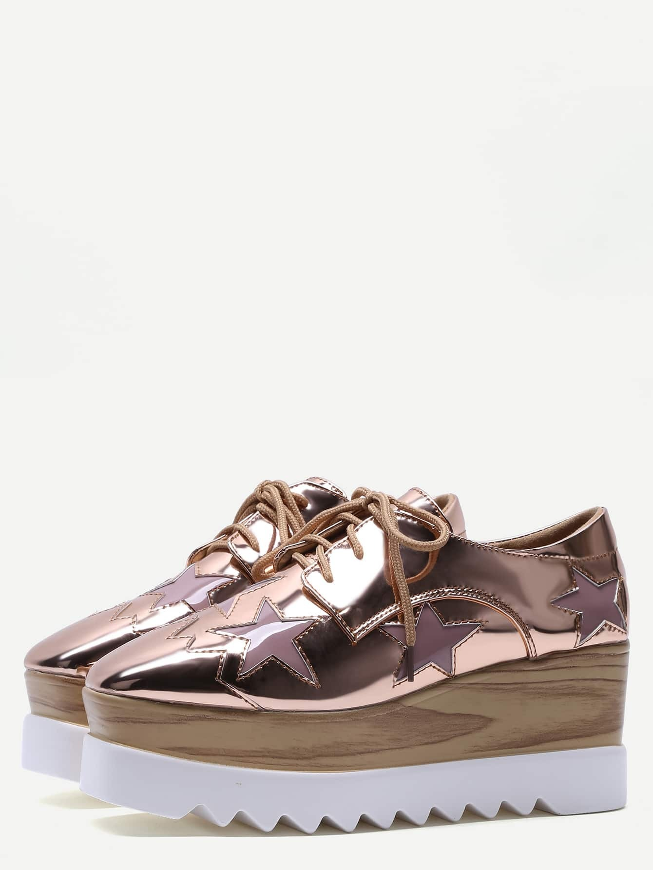 Rose Gold Star Patch Patent Leather Platform Shoes EmmaCloth-Women Fast  Fashion Online dbefc949478d