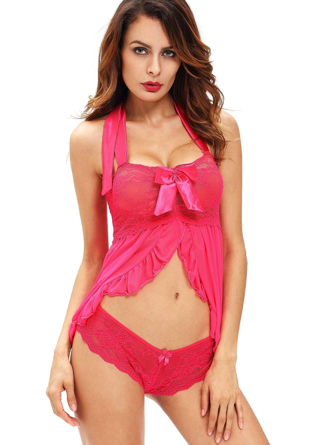 4fac2caf593b5 Pink Bow Detail Flounce Trim Lace Slip Dress EmmaCloth-Women Fast ...