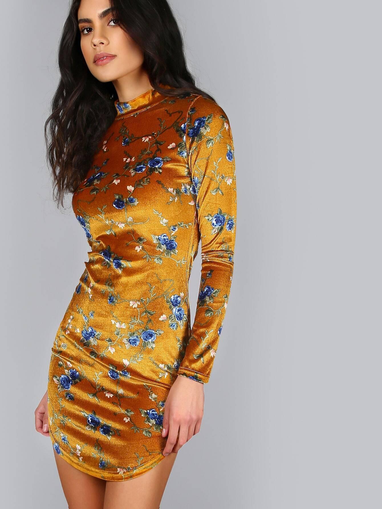 3001ee1d82a755 Apricot Floral Print Mock Neck Long Sleeve Bodycon Dress EmmaCloth ...