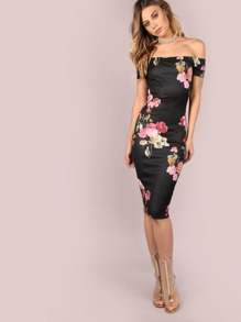Off The Shoulder Floral Bodycon Midi Dress BLACK