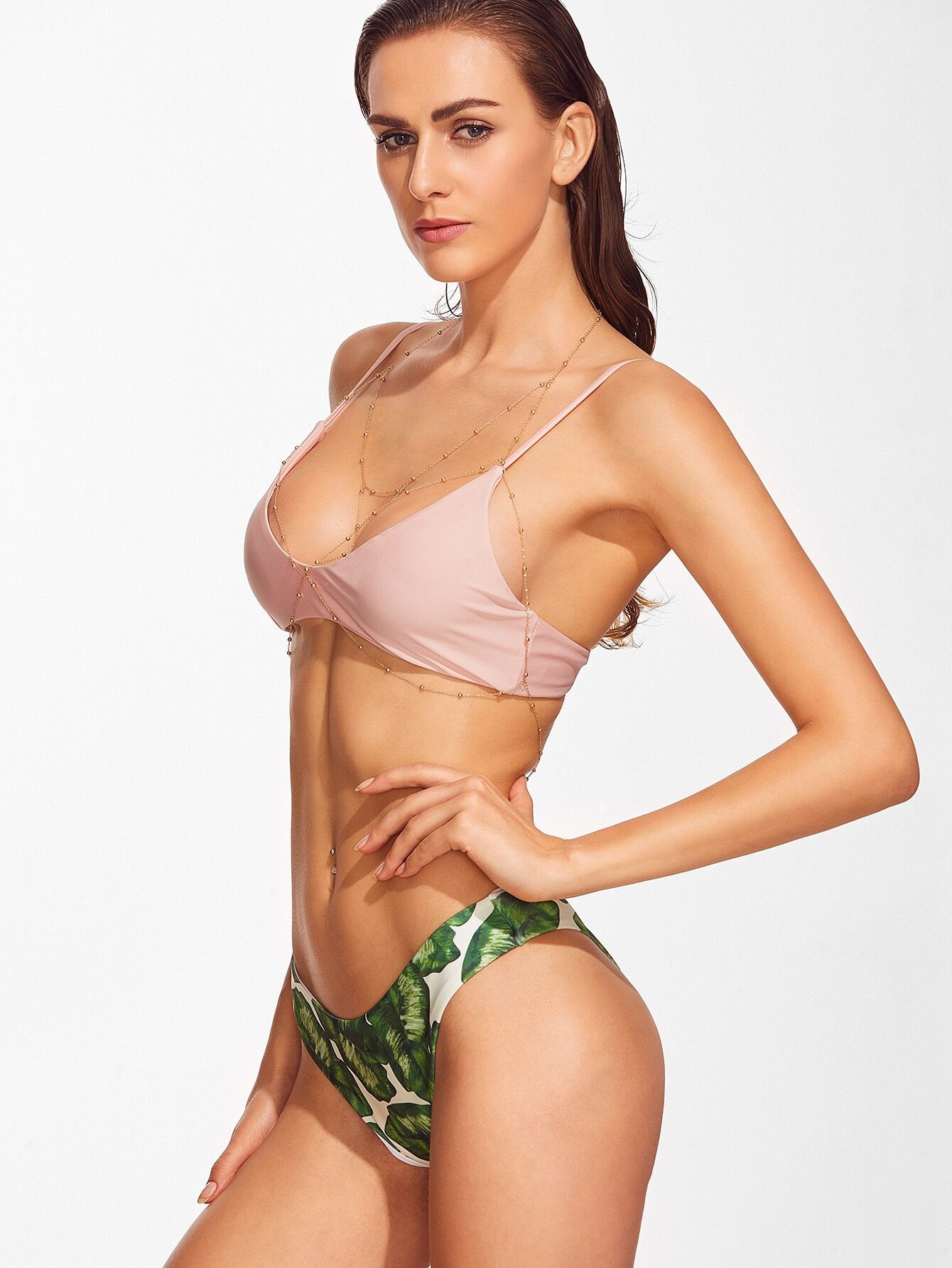 Leaf print sexy bikini set