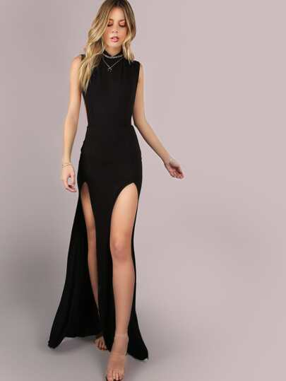 Mesh Back Double Slit Maxi Dress BLACK