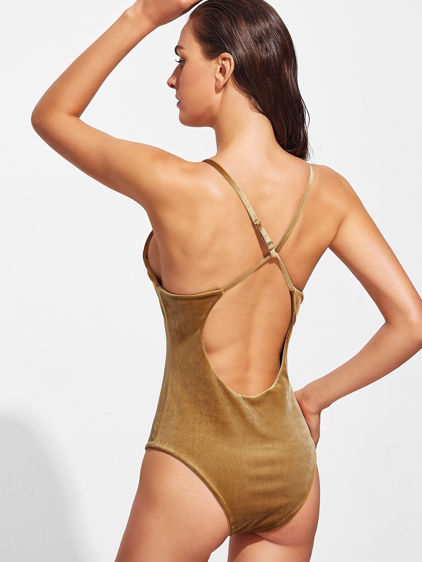 33def16e1b341 Gold V Neck Cross Back Velvet One-Piece Swimwear EmmaCloth-Women Fast  Fashion Online
