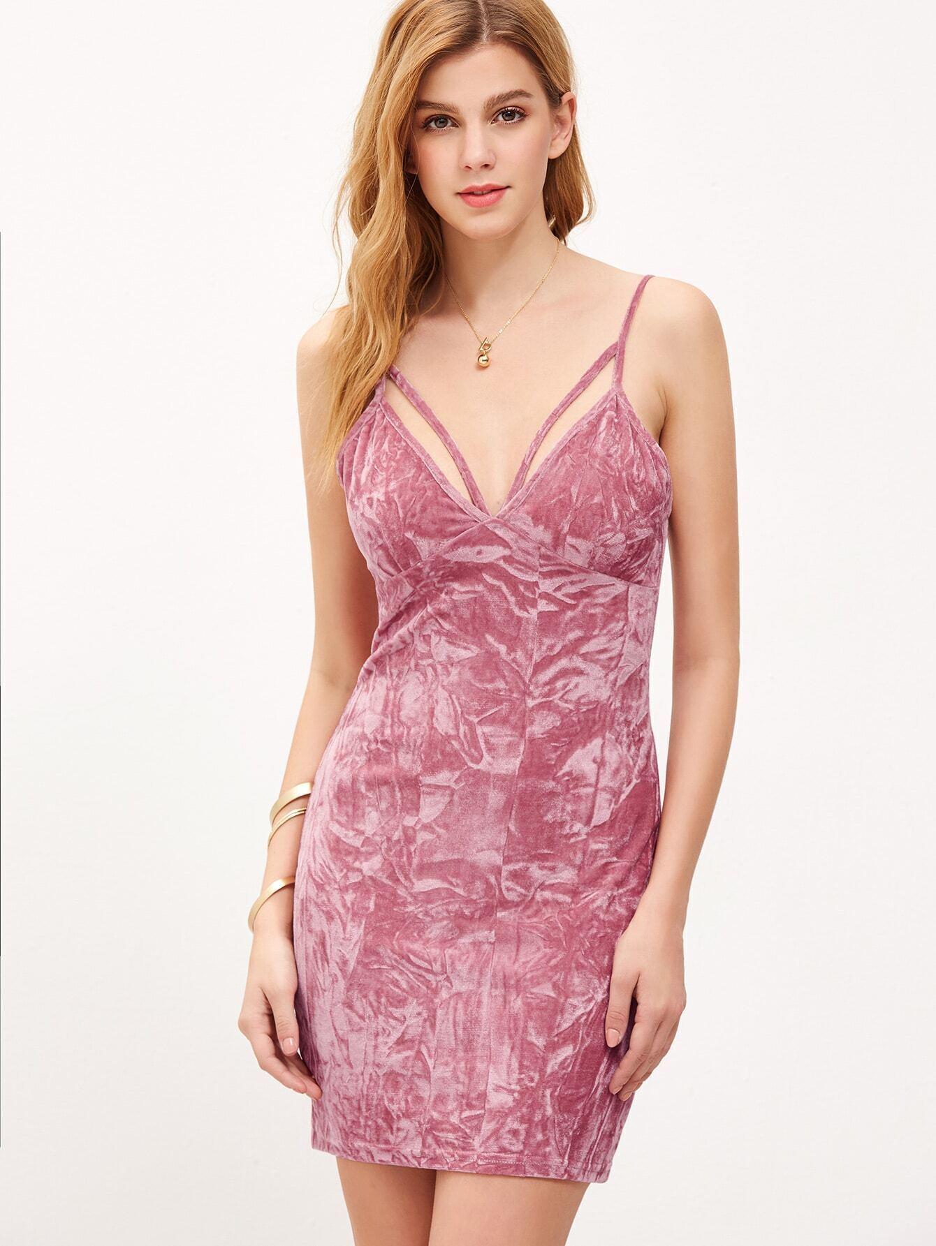 f3bcb0244c634c Pink Strappy Deep V Neck Crushed Velvet Cami Dress EmmaCloth-Women ...