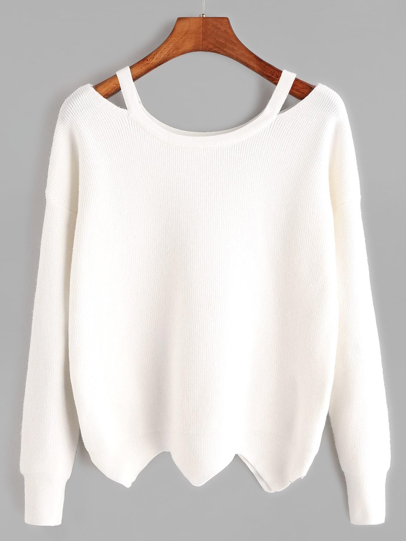 edbdbd80aa6 White Cut Out Neck Wave Hem Sweater EmmaCloth-Women Fast ...