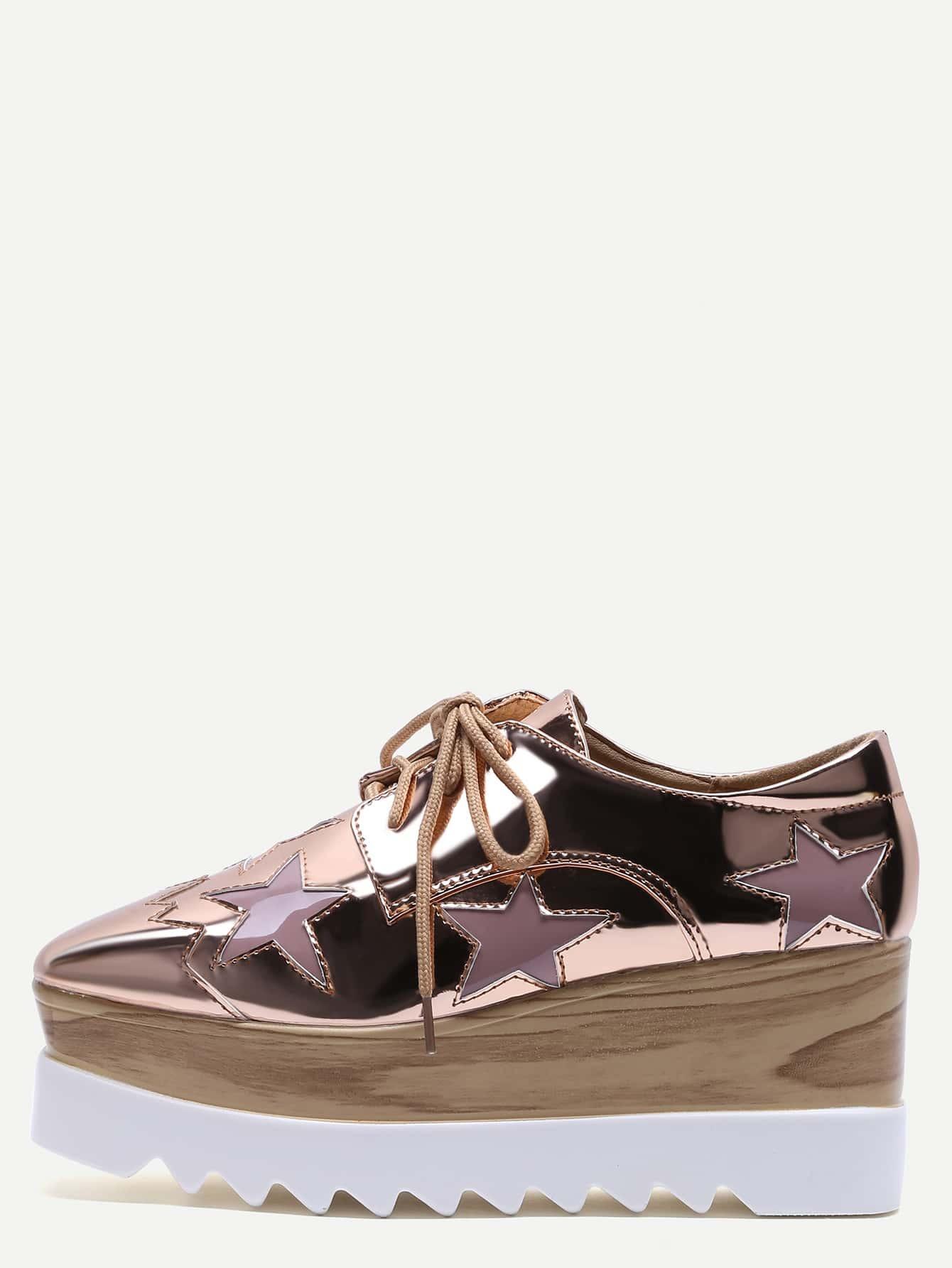 Rose Gold Star Patch Patent Leather Platform Shoes EmmaCloth-Women ... f53183e5af80