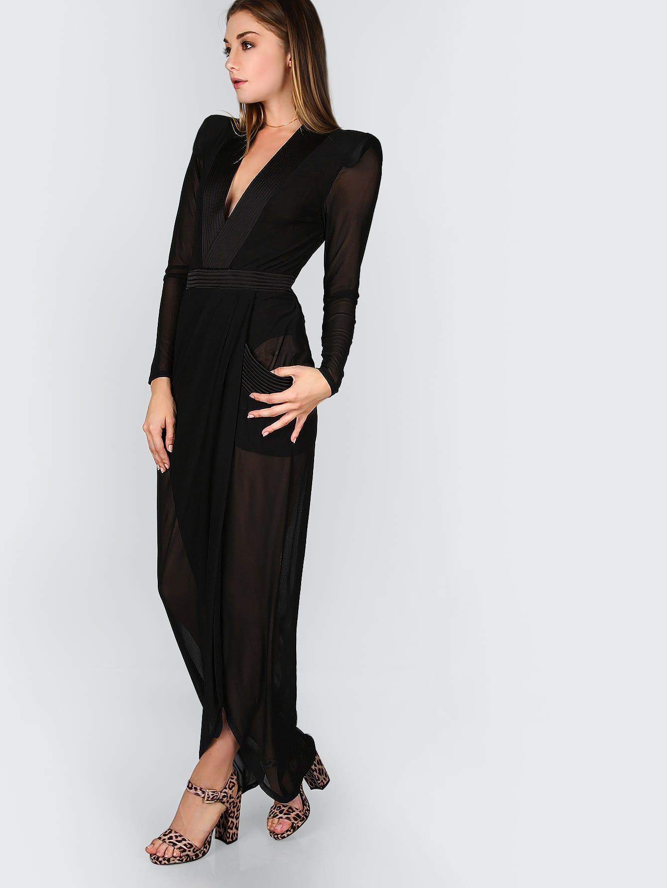 Green Striped Contrast Deep V Neck Wrap Dress EmmaCloth-Women Fast ... 89da7e1d2