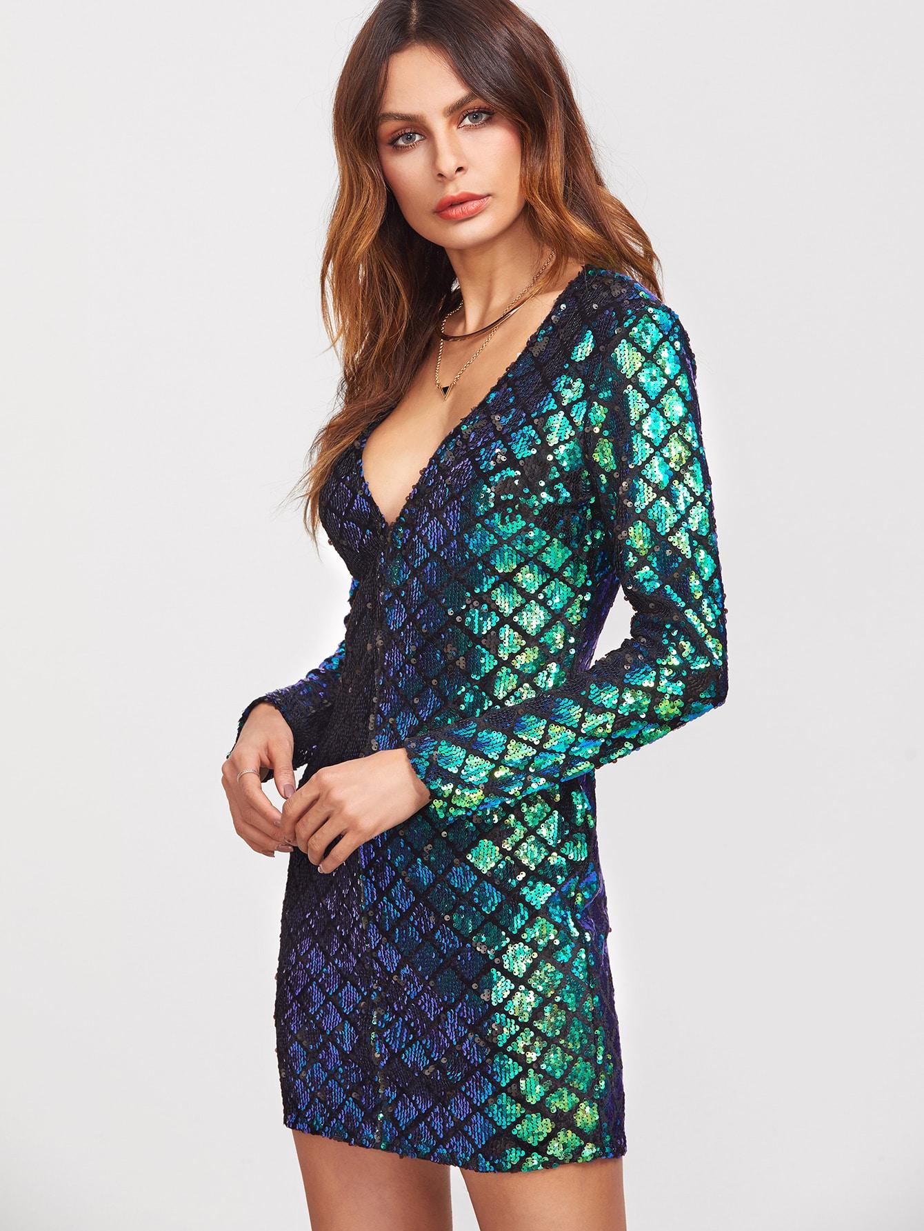 peacock green deep v neck sequin bodycon dress emmacloth-women fast