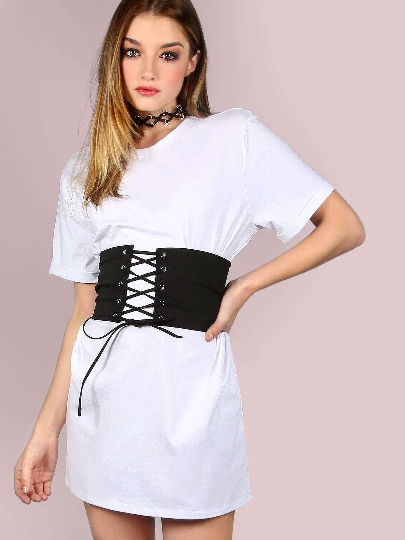 Belted Corset Shirt Dress White Emmacloth Women Fast Fashion Online