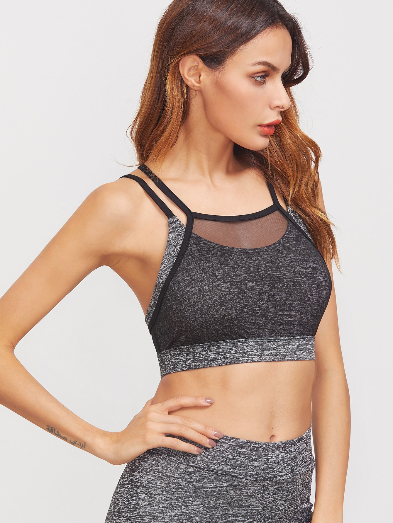 00b53875d02db Grey Marled Knit Contrast Mesh Overlay Crisscross Back Sports Bra pictures