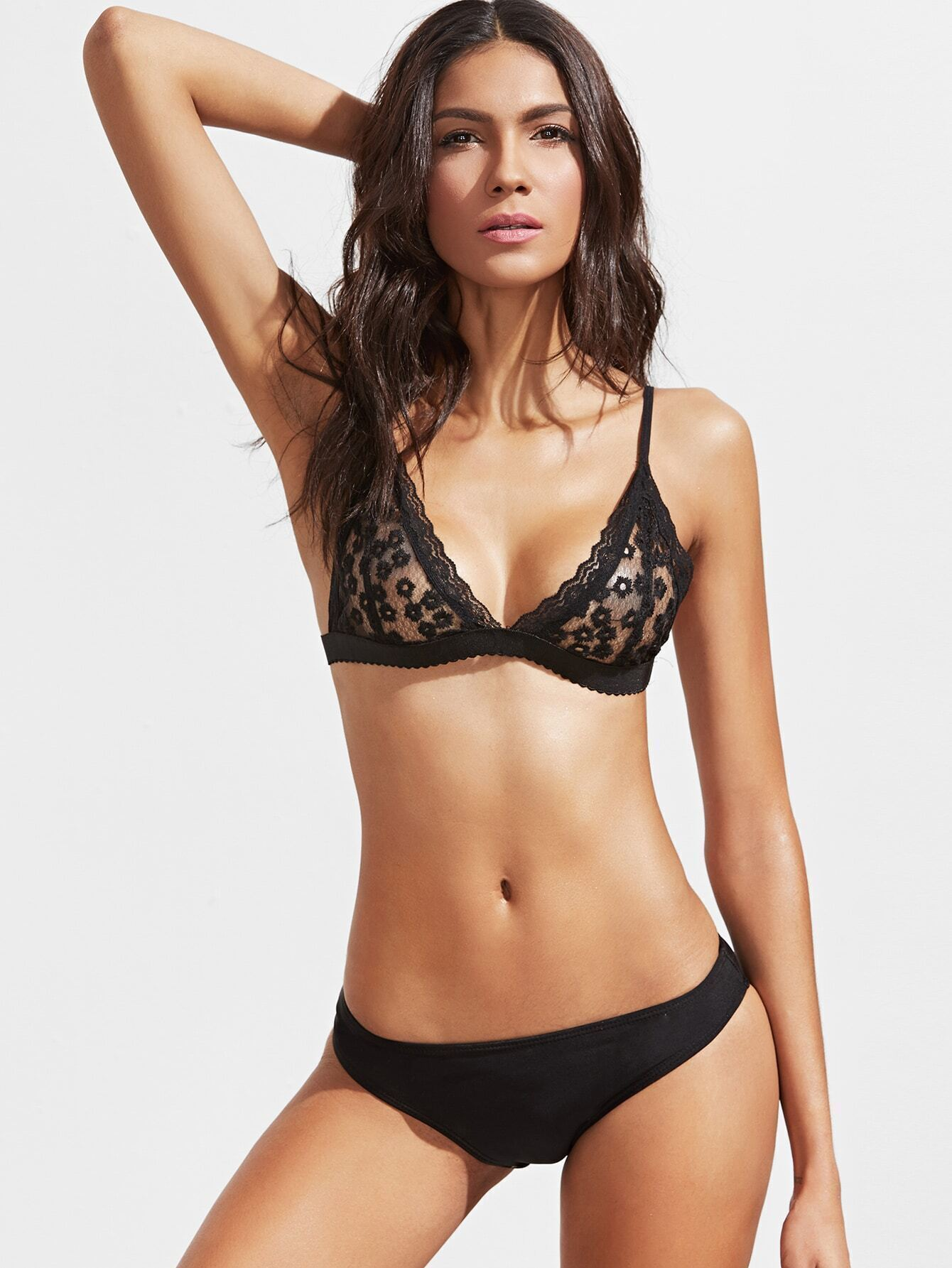 bb05bd2fd237b Black Triangle Floral Lace Bralet EmmaCloth-Women Fast Fashion Online