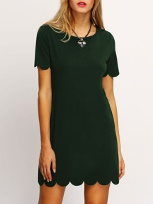 Dark Green Buttoned Keyhole Back Scallop Dress