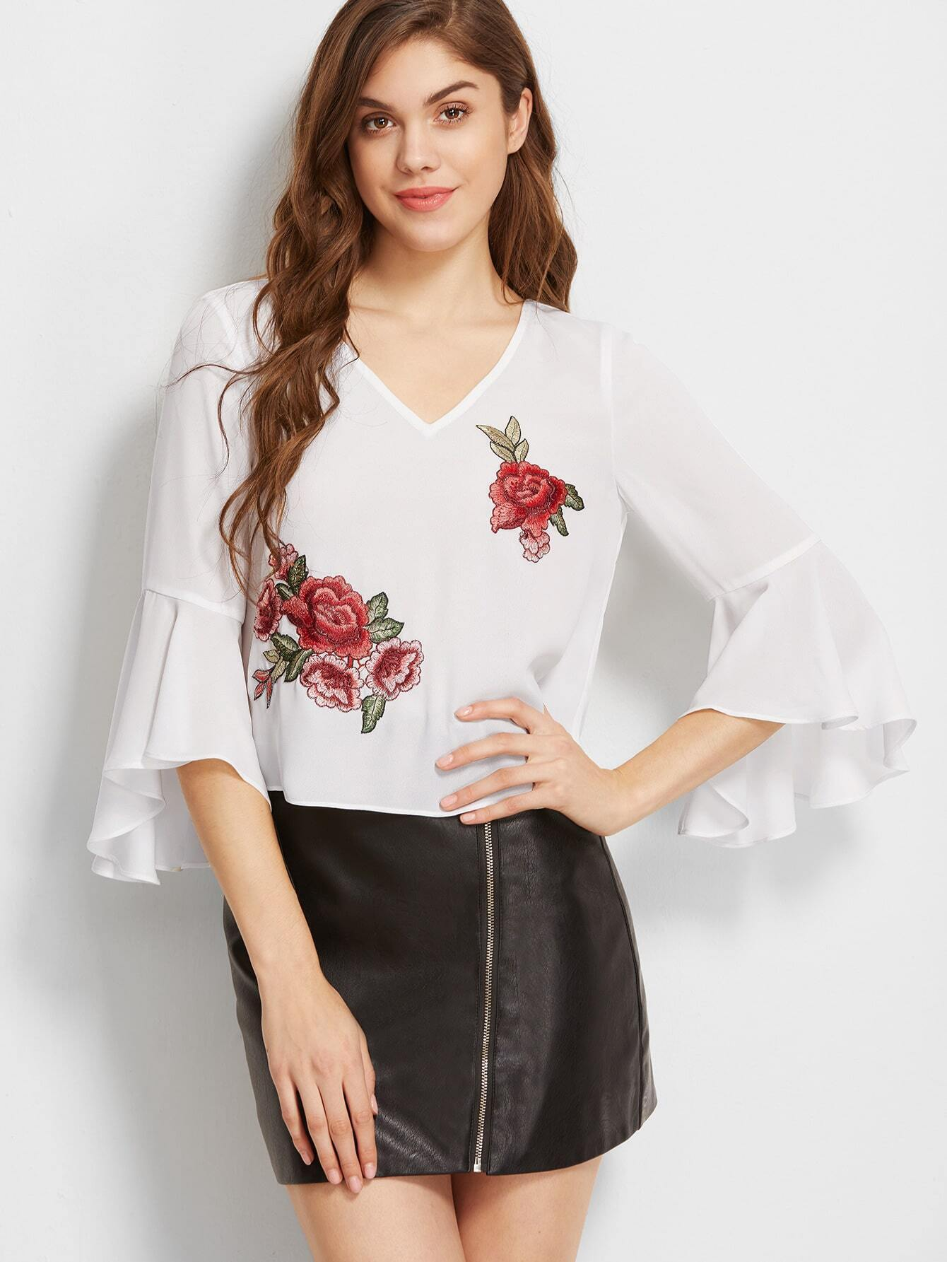 009725e30c White Cutout Back Ruffle Sleeve Top With Rose Patch Detail EmmaCloth ...