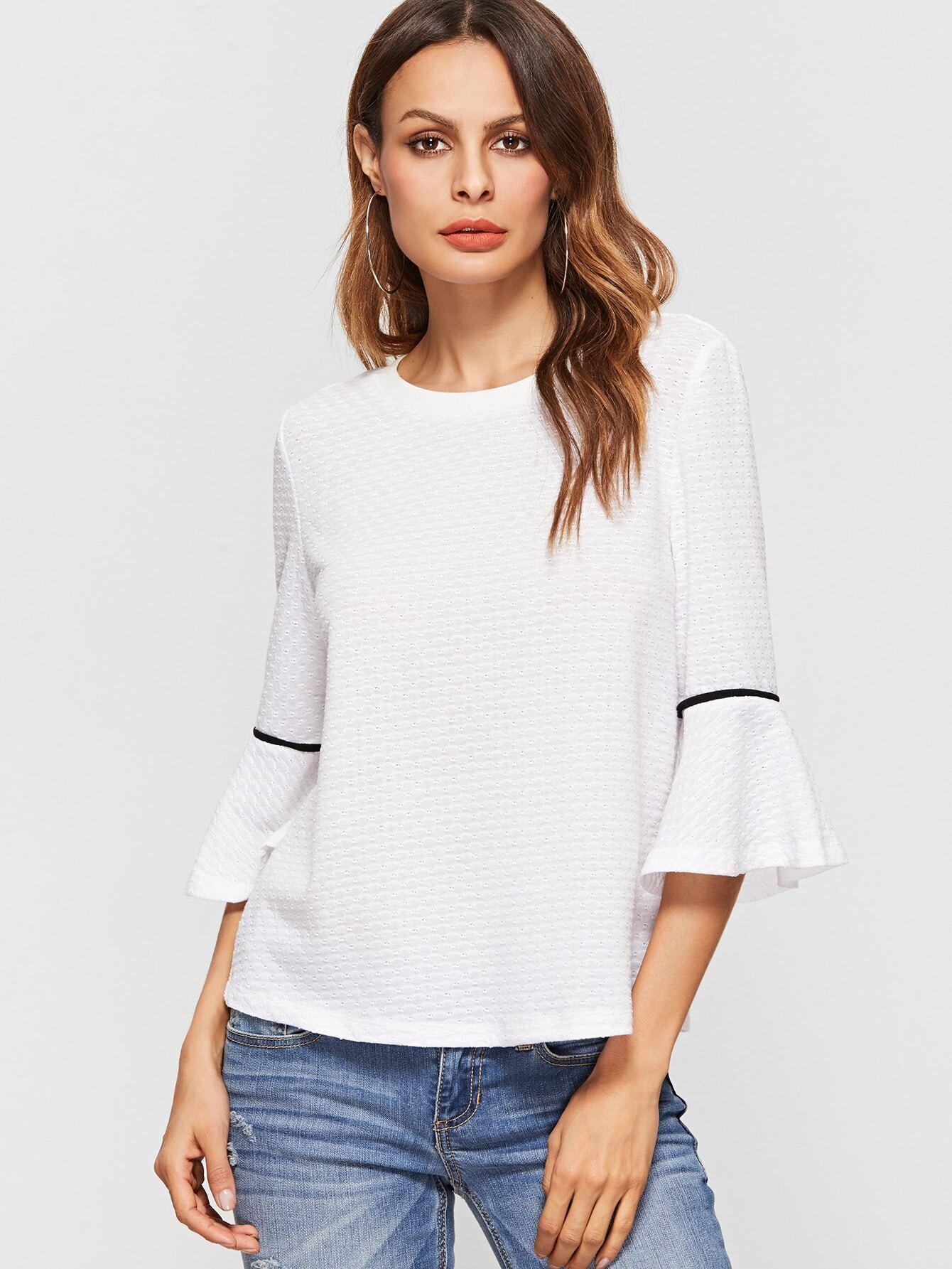 f67f1aad0a18a6 White Ruffle Cuff Elbow Sleeve Top EmmaCloth-Women Fast Fashion Online