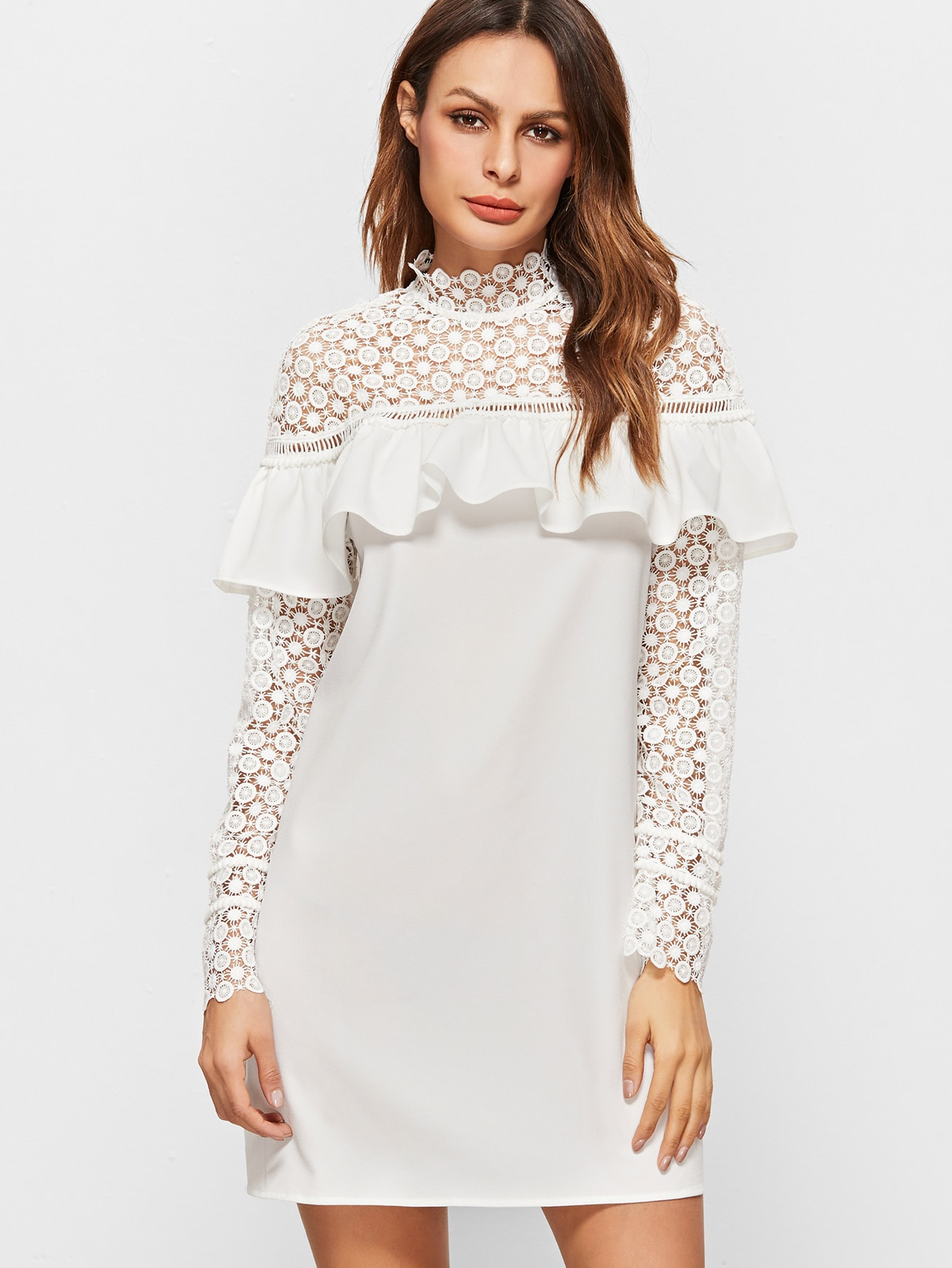 090524a2c15b1 White Sheer Embroidered Lace Shoulder And Sleeve Ruffle Dress ...