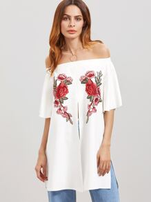 White Off The Shoulder Embroidered Flower Applique Split Front Top