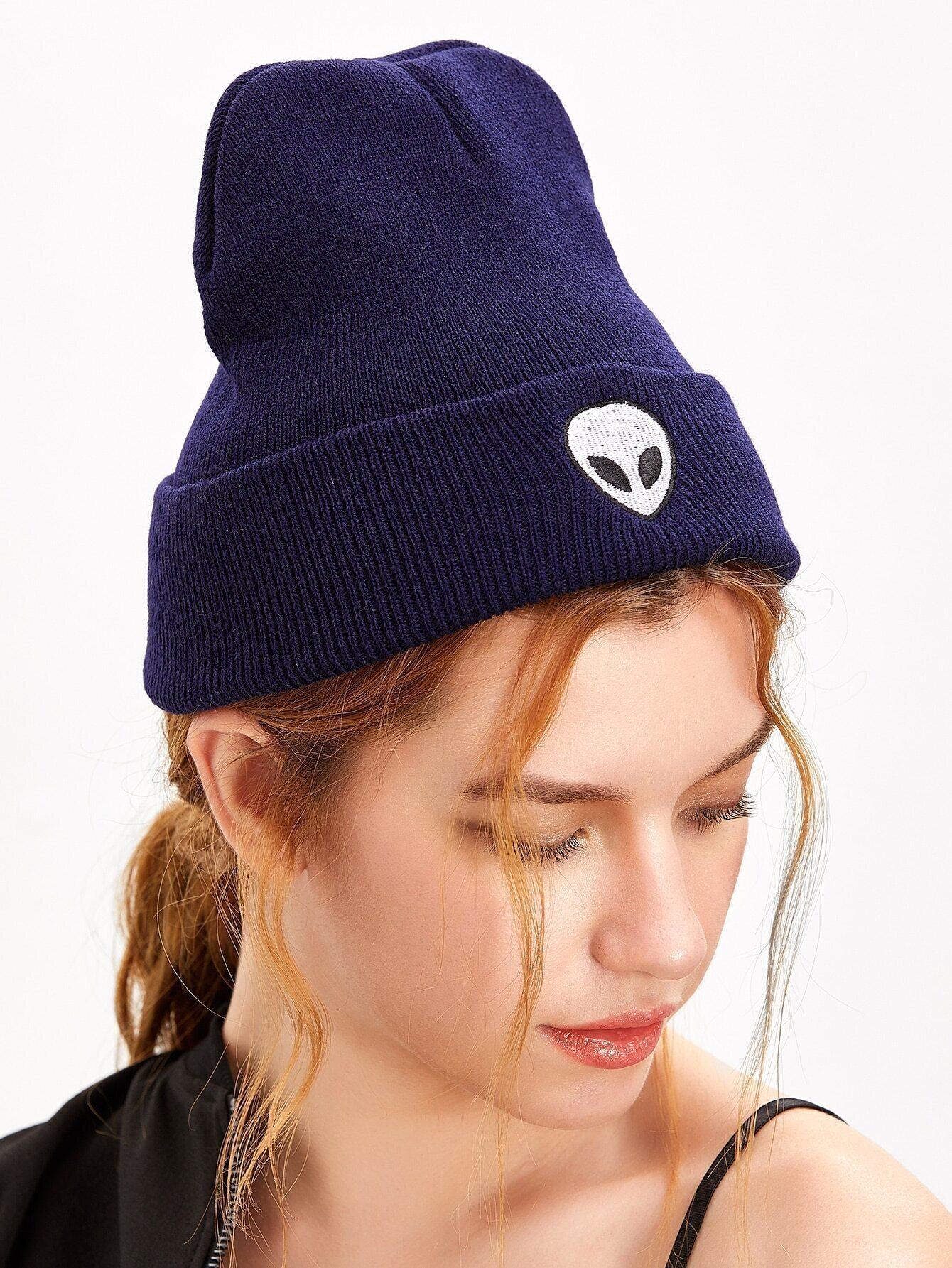 5534c12ed43 Dark Purple Alien Embroidery Wacky Beanie Hat EmmaCloth-Women Fast ...