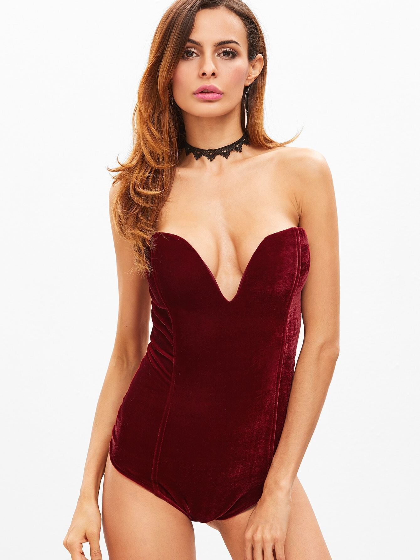3a91f36dee Burgundy Velvet Lace Up Back Bandeau Bodysuit EmmaCloth-Women Fast ...