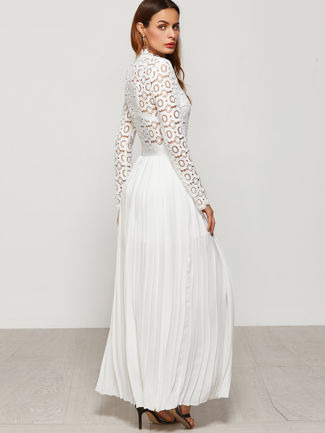 c4d9169e8f White Eyelet Embroidered Lace Top Split Pleated Dress EmmaCloth ...