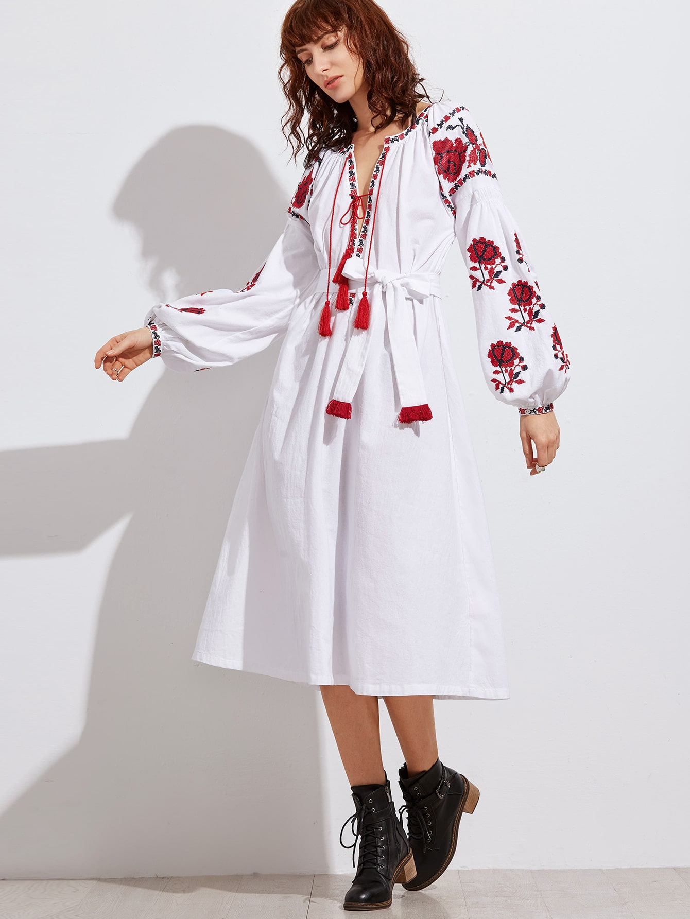 8e89b127c4 White Tel Tied Plunge Neck Embroidered Peasant Dress Pictures