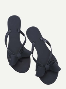 Black Bow Detail Flip Flops