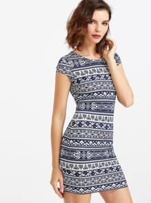 Navy And White Tribal Print Cap Sleeve Dress