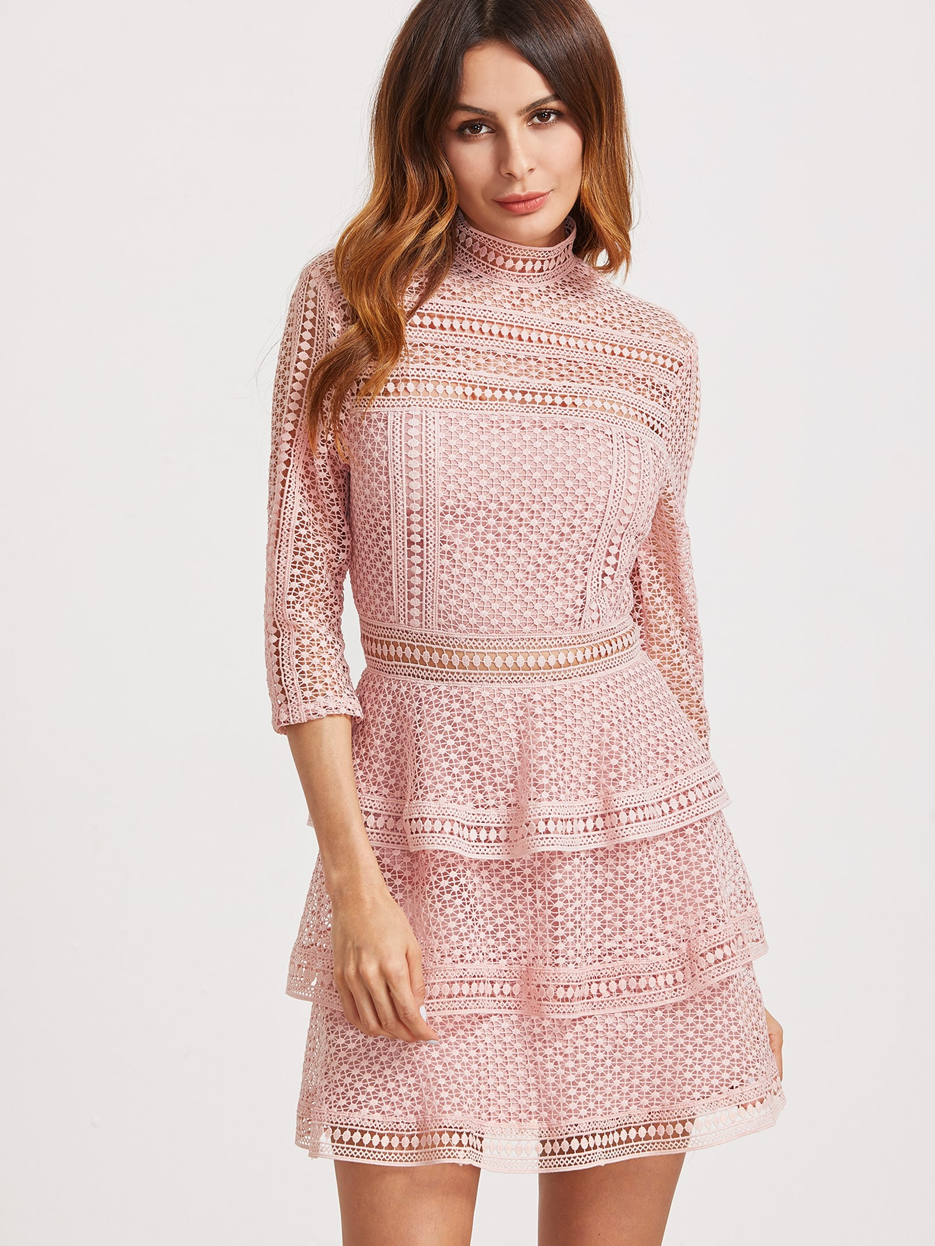 Pink High Neck 34 Sleeve Layered Dotted Crochet Dress Emmacloth