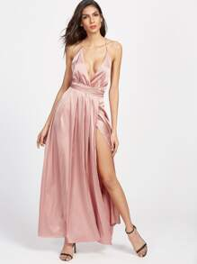 Pink Surplice Front Crisscross High Slit Cami Dress