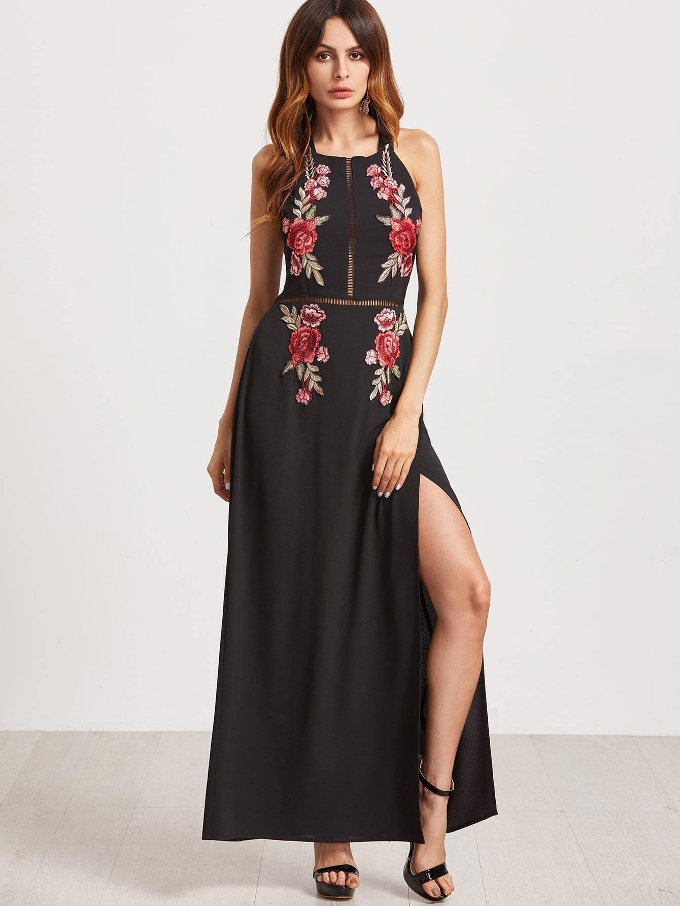Black Backless Hollow High Slit Appliques Dress EmmaCloth-Women Fast ...