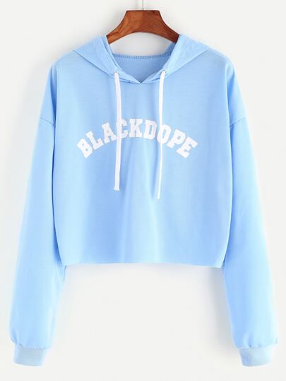 Blue Hooded Letter Print Raw Hem Crop Sweatshirt