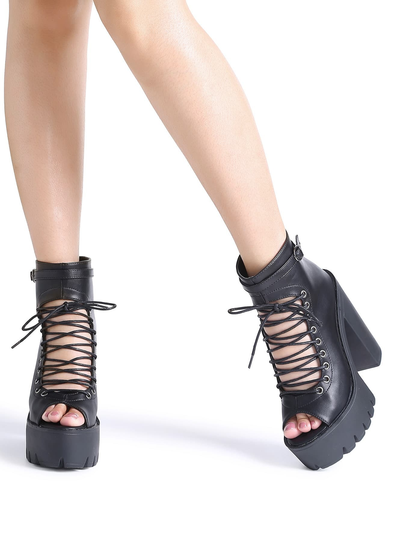 fde46d5eac36 Black Peep Toe Lace Up Platform Chunky Heeled Sandals EmmaCloth ...
