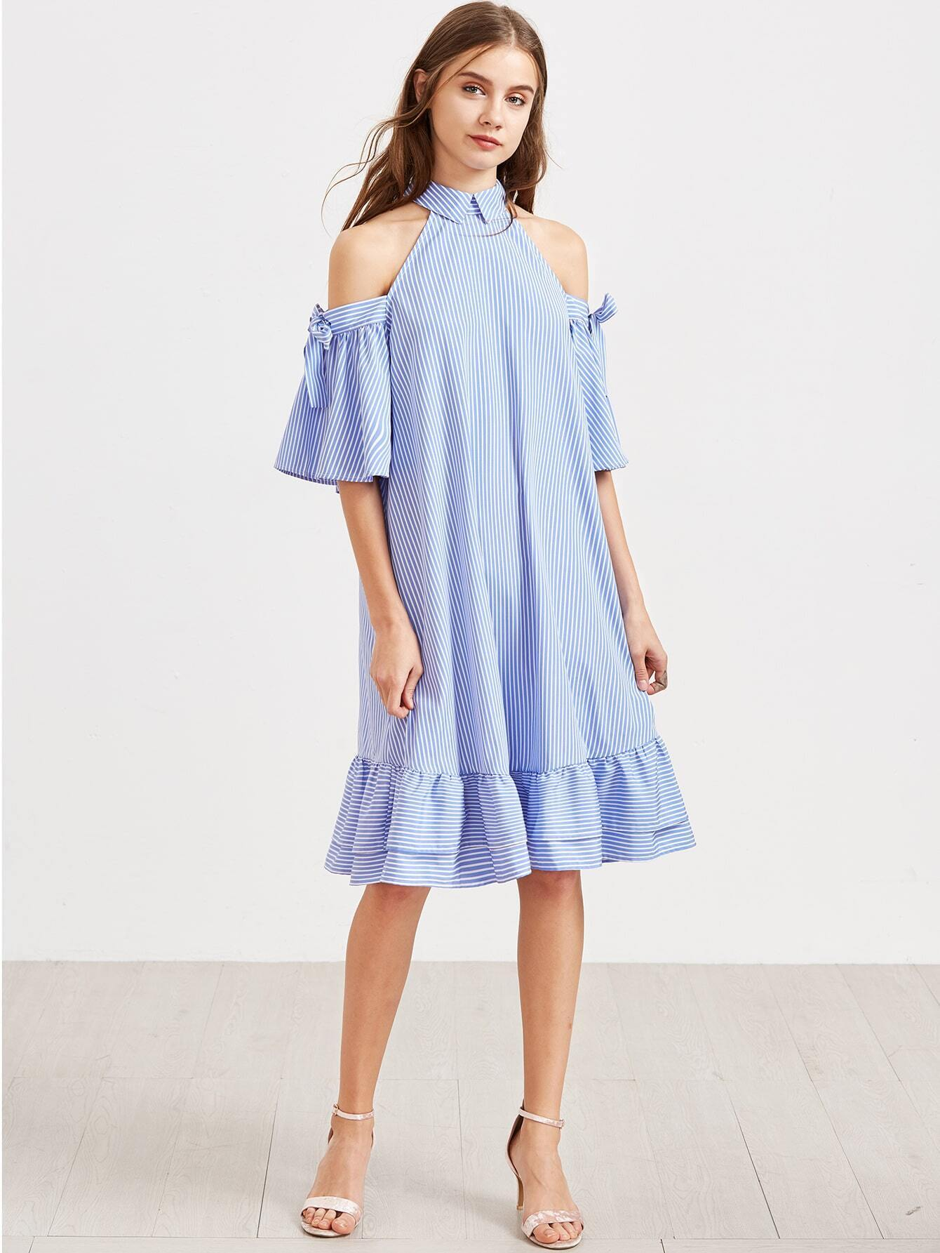 cba9840fd6 Blue Striped Cold Shoulder Tie Sleeve Ruffle Hem Dress EmmaCloth ...