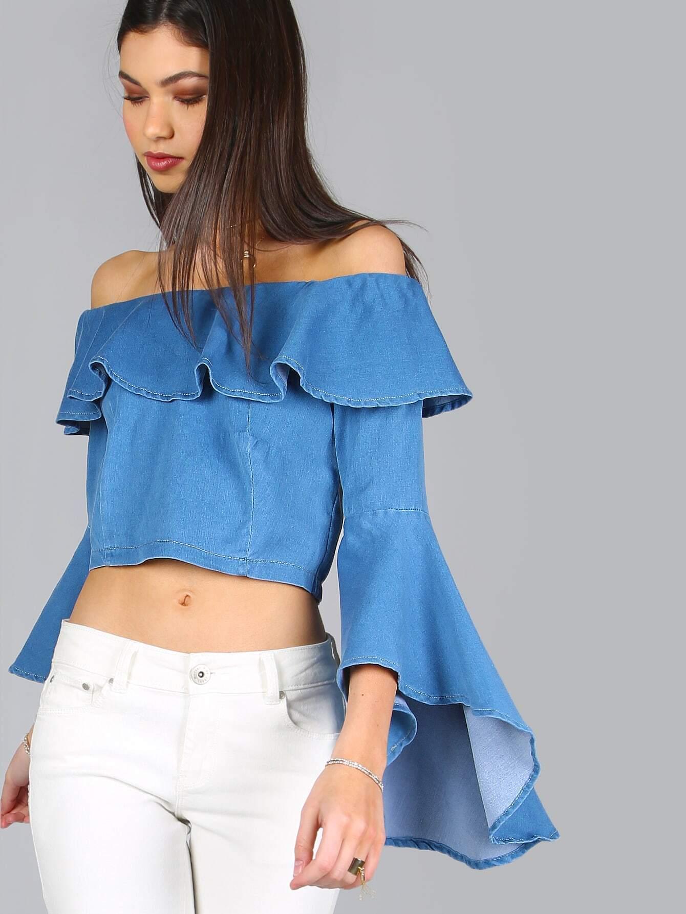 60bca836c223d Denim Ruffle Bell Sleeve Top DENIM EmmaCloth-Women Fast Fashion Online