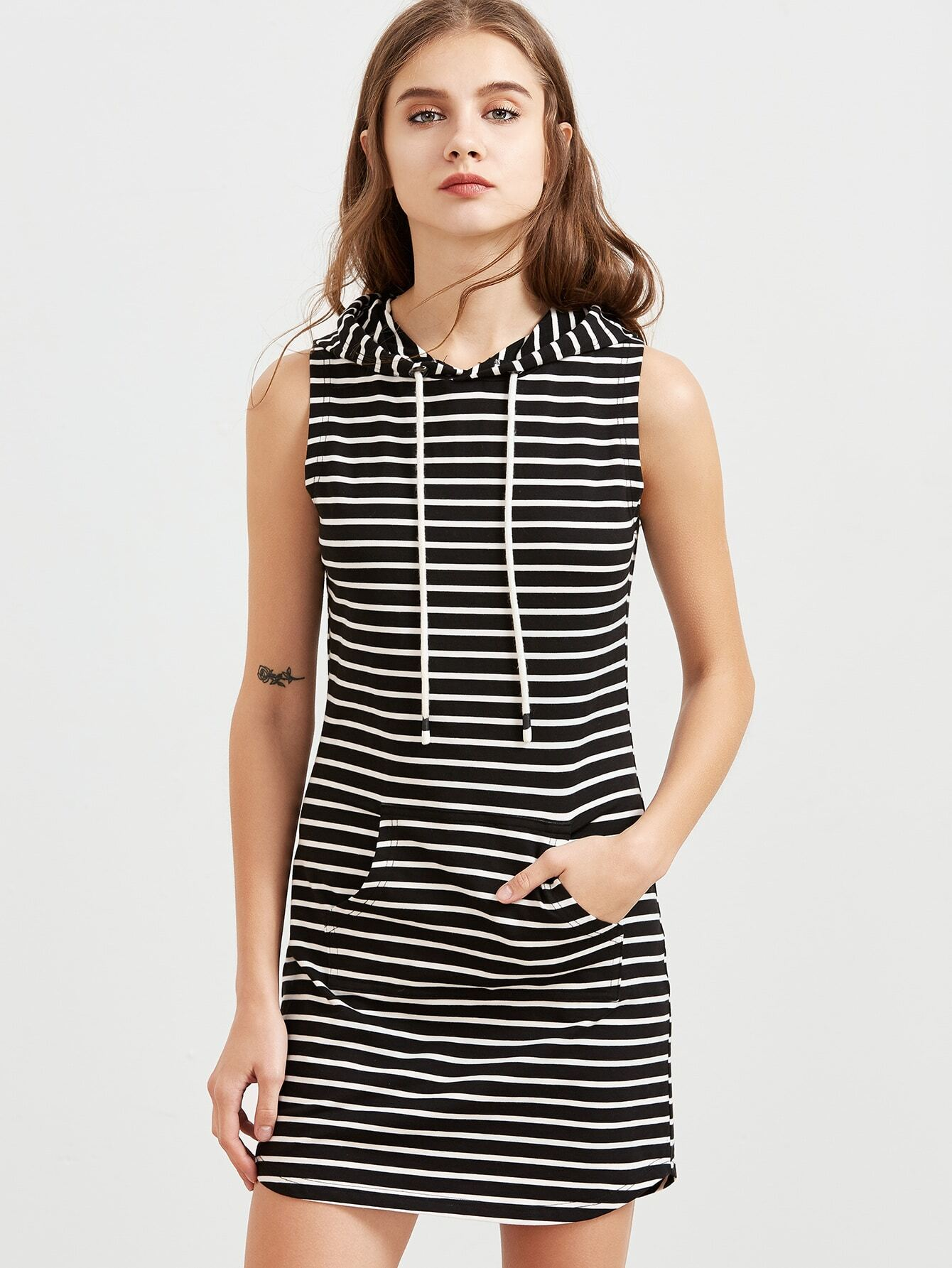 136d970cc1864 Black And White Striped Pocket Front Sleeveless Hoodie Dress pictures