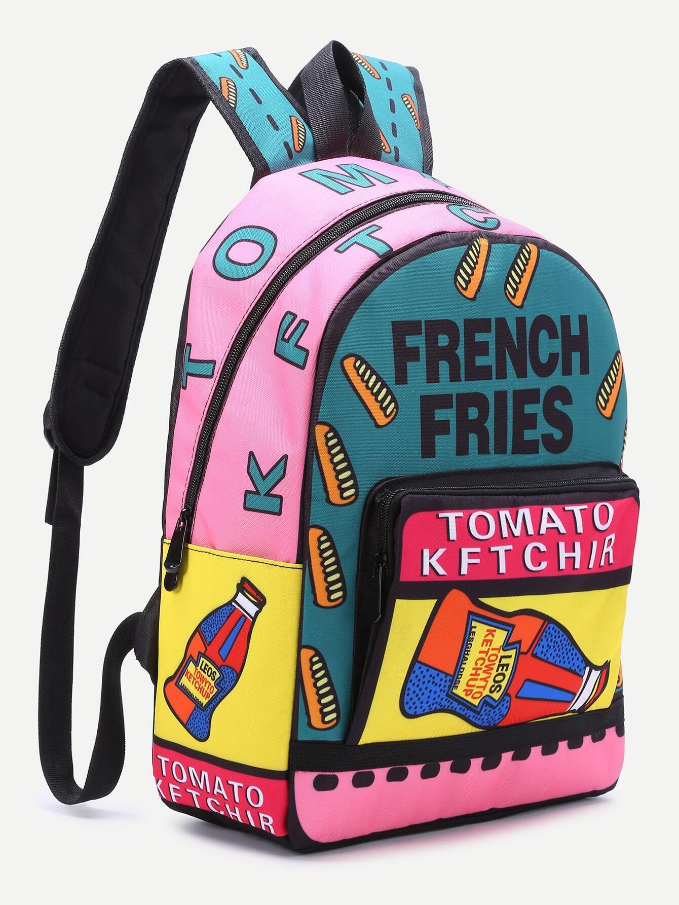 Backpack It Canvas Letter Pocket Front Multicolor Pin Print fRq4wSR6H