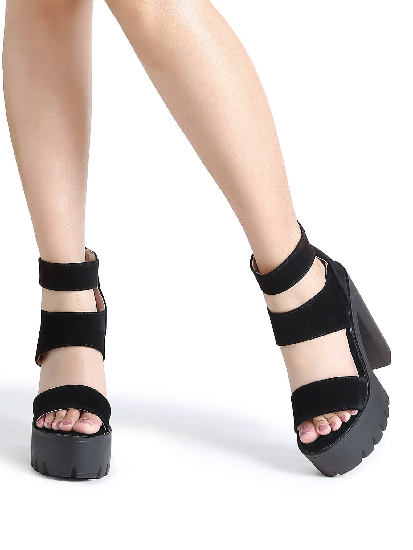 bafe4c242c34 Black Strappy Platform Heeled Sandals EmmaCloth-Women Fast Fashion ...