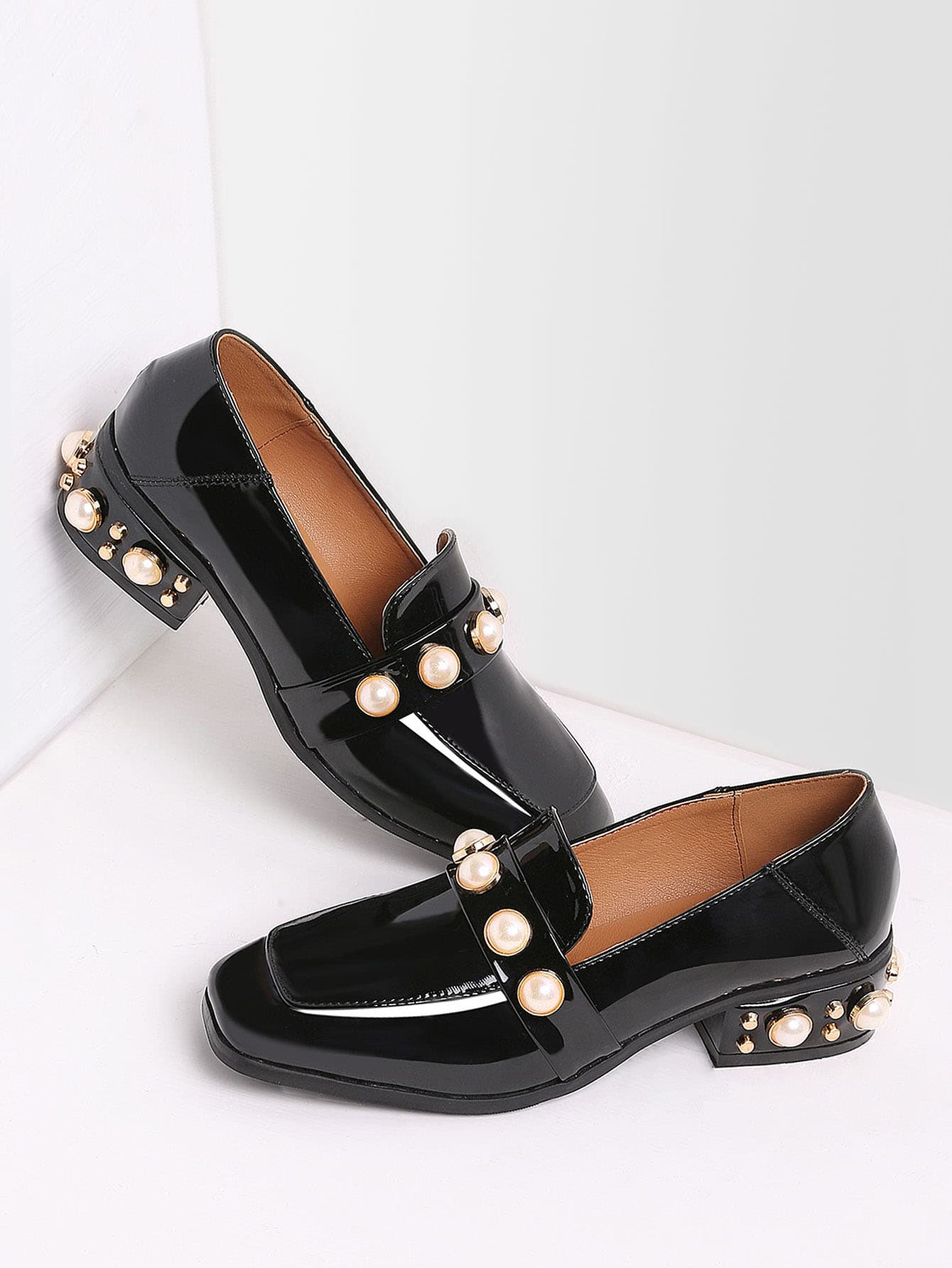 db75d63cae2 Black Pearl Studded Patent Leather Low Heel Loafers EmmaCloth-Women ...