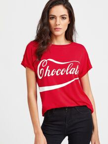 Red Letter Print Roll Cuff T-shirt