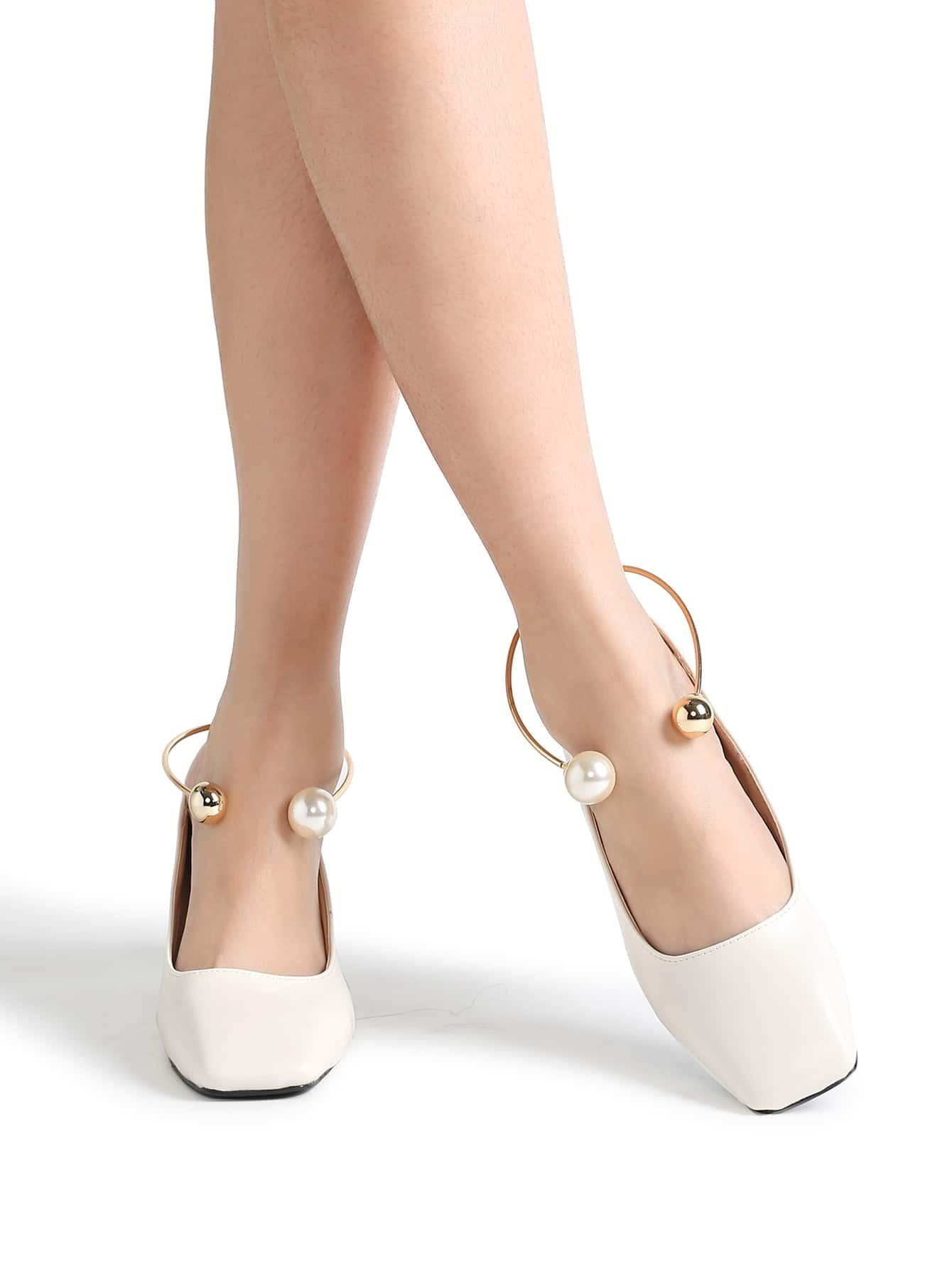 e055f949867 White Square Toe PU Chunky Heeled Shoes EmmaCloth-Women Fast Fashion ...