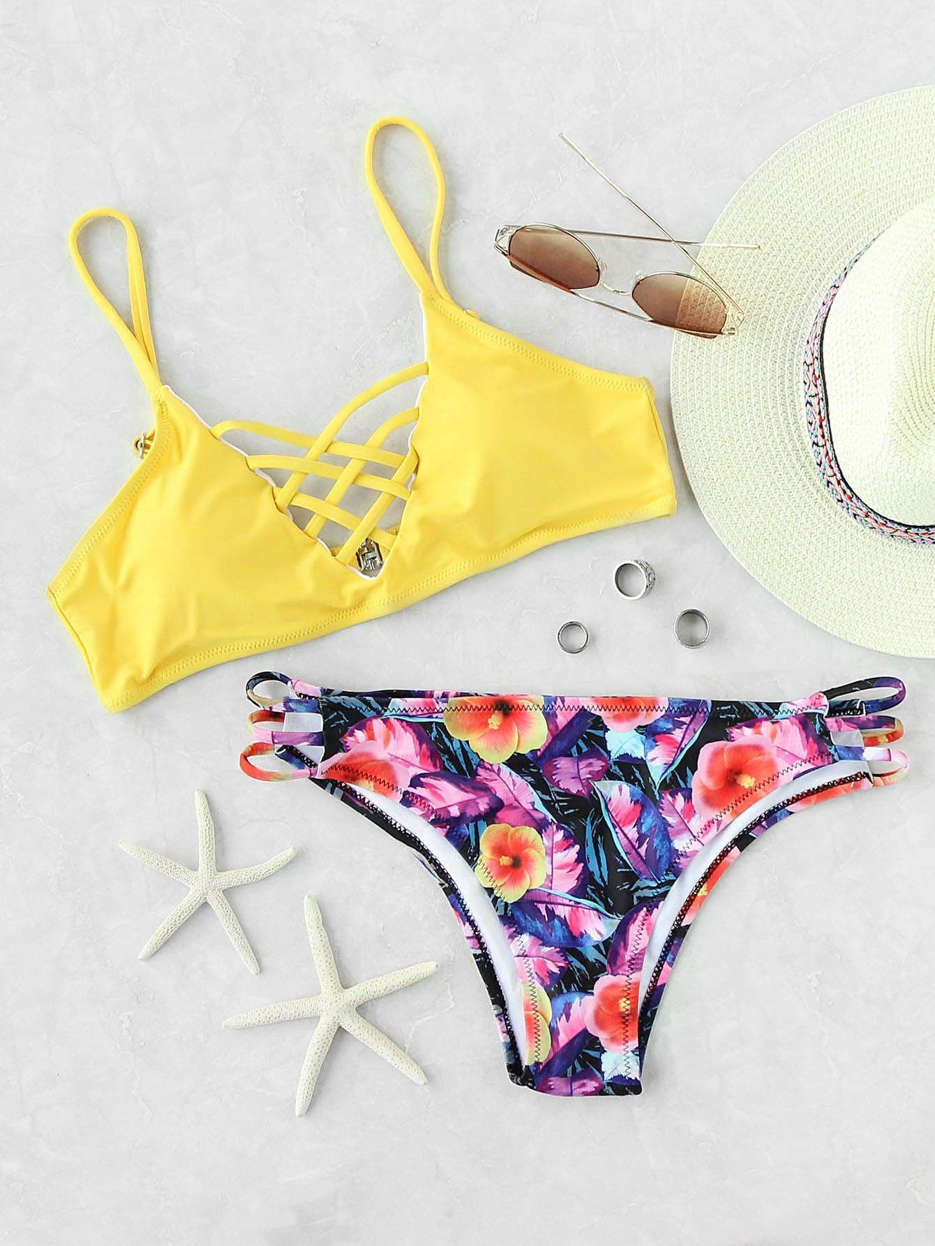 abacdb533e4 Yellow Floral Print Criss Cross Mix & Match Bikini Set EmmaCloth ...