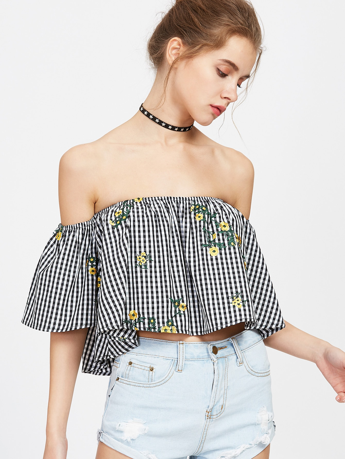 3416fc362776b5 Black White Checkered Off The Shoulder Embroidered Top EmmaCloth ...