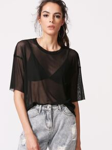 Black Drop Shoulder Sheer Mesh Top